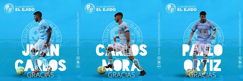 Juan Carlos, Mora y Pablo Ortiz no seguirán en el CD El Ejido: ¡Gracias y hasta pronto!