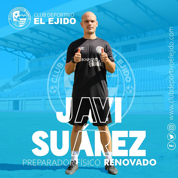 Javi Suárez afronta su séptima temporada en la preparación física del CD El Ejido